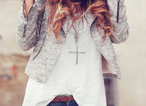 Fashion Beautiful, Crosses Necklaces, Clothing, White Shirts, Jackets, Fashion Beauty, Accessories, Jeans Shorts, My Style