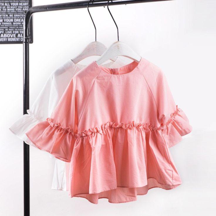 Новый 2017 Оптовая весна мода девушки хлопок спикер рукав блузки бело розовые 2 8 лет (размер выбор цвета) купить на AliExpress
