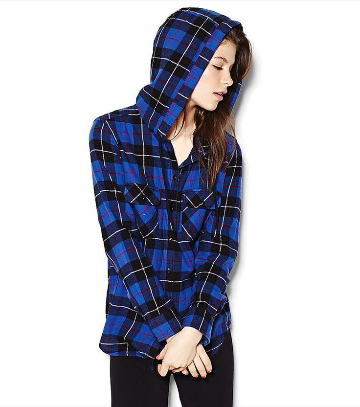 Hooded flannel plaid shirt.