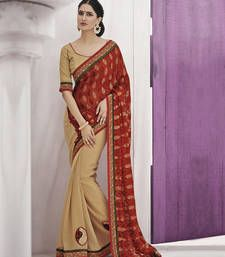 Buy Red embroidered silk saree with blouse brasso-saree online