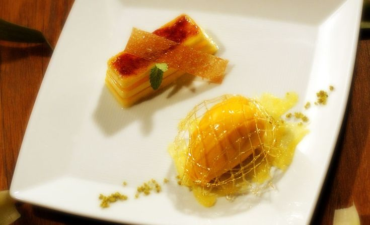 """""""Crema bruciata di serse al frutto della passione, sorbetto al mango"""" del Ristorante Gellius di Oderzo (TV)  #lamadia #lamadiatravelfood #food"""