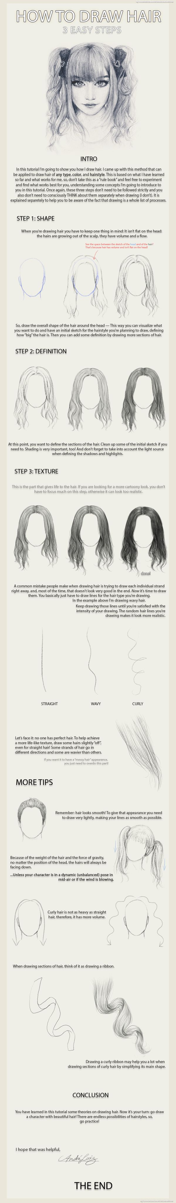 3 Easy Steps to Draw Hair by AndreLuizBarbosa on deviantART