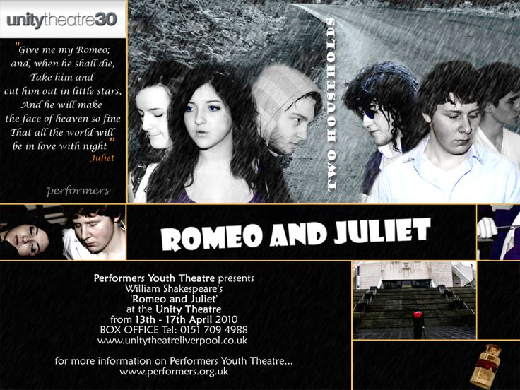 One of a set of flyer designs for Romeo and Juliet, which we helped to produce.