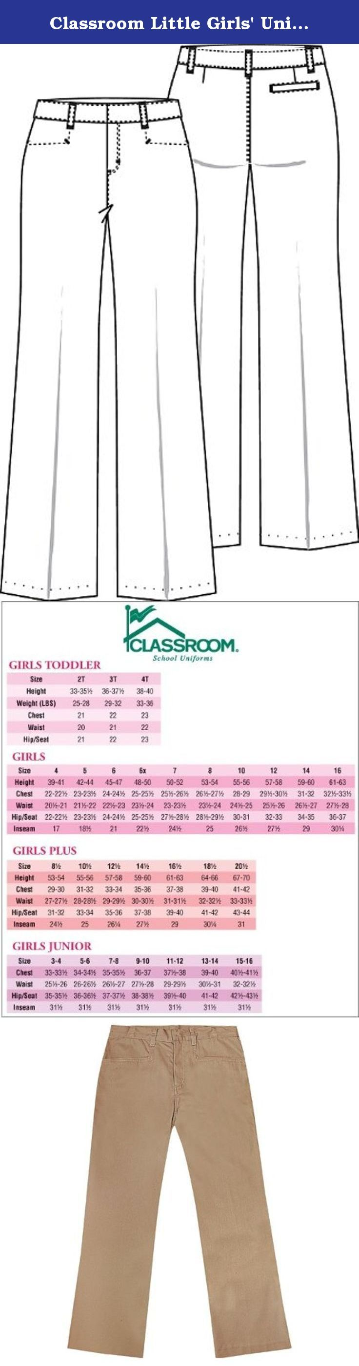 Classroom Little Girls' Uniform Low Rise Flare Leg Pant,Khaki,6. Trim and stylish pant with lower rise sits on the hip with a center back elastic waist. Boot leg, short fly, top-pockets, and belt loops complete this contemporary look. Easy care soil-release poly/cotton twill. Imported. For sizes 7-16 see style 51072, for Girls plus sizes 8 1/2-20 1/2 see style 51073 and for Juniors sizes 1/2-21/22 see style 51074, for Juniors Tall 1/2-15/16 see style 51074T.