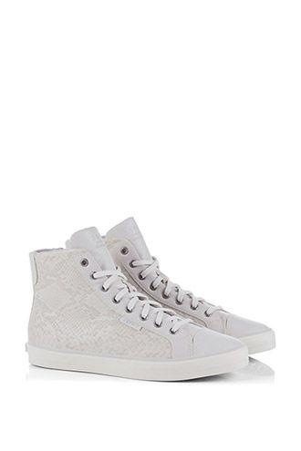 off white kleurige sneaker van Esprit, gecombineerd met een dierenprint - Sluimer schoenen