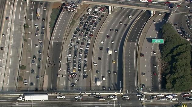 Protesters shut down the 10 Freeway near California State University, Los Angeles, in Boyle Heights on Thursday, Nov. 10, 2016.