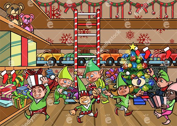 Elves Making Toys At Santa S Workshop Cartoon Scene Friendlystock Santas Workshop Christmas Elf Christmas Scenes