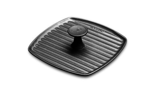 Le Creuset Cast Iron Square Grill Press, 9-inch Matte Black | Cutlery and More