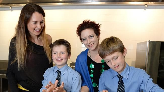 Alison Morgan (left) with children Hugo and Leo and Animal Box founder Christine Morrison.  www.relauncher.com.au