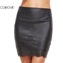 COLROVE Clubwear de Las Mujeres Mini Falda Corta Apretada Bodycon Falda Faldas Ropa de Trabajo Negro de Cuero de Imitación Del Recorte Láser(China (Mainland))