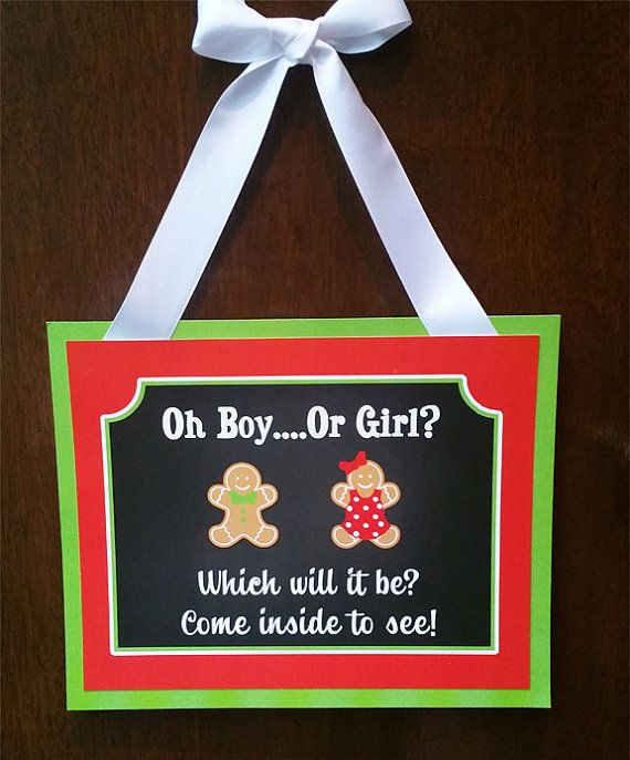 Christmas Gender Reveal Door Sign Printable  by ThatPartyChick