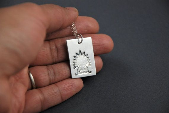 Layering jewelry silver pendant ornate design by PNdesignsStudio