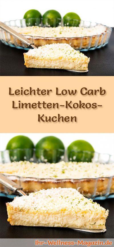 Rezept für einen leichten Low Carb Limetten-Kokos-Kuchen: Der kohlenhydratarme Kuchen wird ohne Zucker und Getreidemehl gebacken. Er ist kalorienreduziert, ...