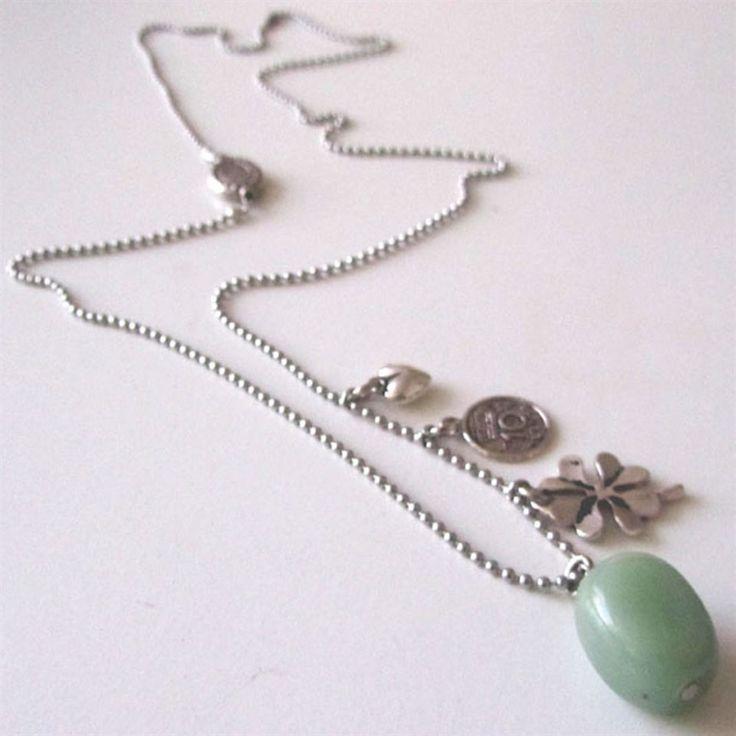 Ketting bedel met groene Aventurijn steen | Made By MA Jolie
