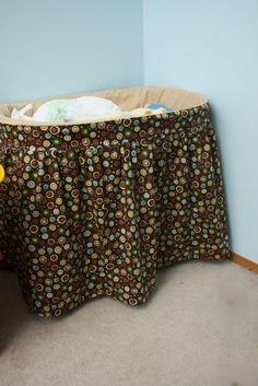 Easy bassinet cover tutorial. Made mine without the long skirt so that the basket would show and I can make a storage bin to go underneath.