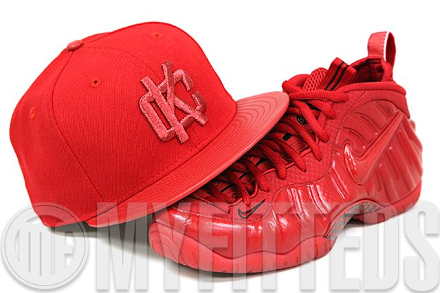 KIX & LIDZ: New Era 59FIFTY: Kansas City Royals - Garnet Fire-Metallic Red...The Ruby Red Slippers All Red Foamposites need a Kansas themed hat to match. Presenting the new Kansas City Royals New Era 59FIFTY Fitted Cap presented in a solid garnet fire and garnet fire faux leather 2 tone classic construction with the KC interlocked logo on the front in metallic ruby. The rear features the Kansas City Royals cursive wordmark in metallic ruby as well making it the perfect hat to match the red…
