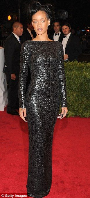 Rihanna wearing a black backless crocodile dress from Tom Ford's Autumn 2012 collection! Love!