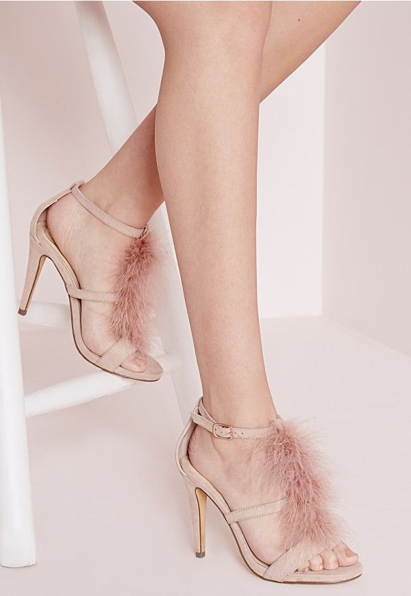 Feather Trim Heeled Sandals Pink - Shoes - High Heels - Missguided