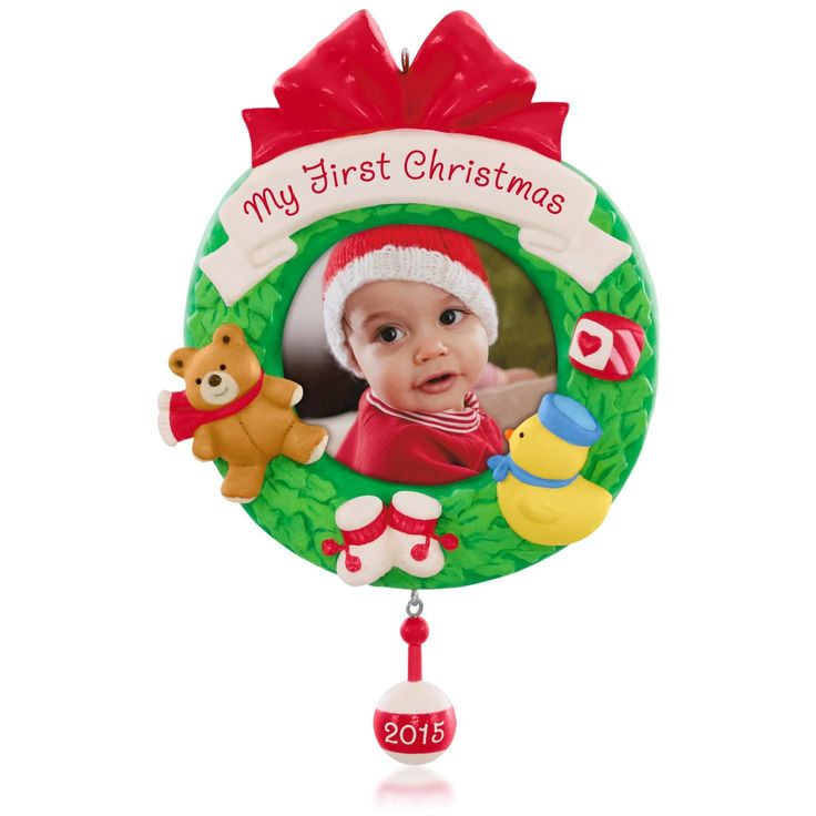 just in case My First Christmas Photo Holder for Baby Picture Ornament