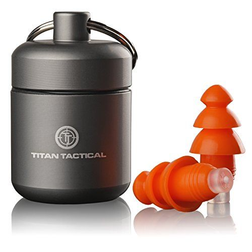 Titan Tactical 29NRR Reusable Shooting Ear Plugs w/ Removable Noise Filter + Heavy Duty Aluminum Case  High NRR Rating of 29DB tested to ANSI and EPA codes3 is ideal for indoor and outdoor shooting ranges; Also great for concerts, construction, landscaping, sports, auto racing, and extremely loud environments  Hearing protection choice of law enforcement, military and event shooters worldwide  Protects your ears from loud noise damage but still allows you to hear voices clearly for saf...
