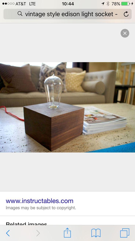 Holzleuchte, Lampendesign, Kunstwerke, Holz Stahl, Tischlampen, Edison  Lampen, Holz