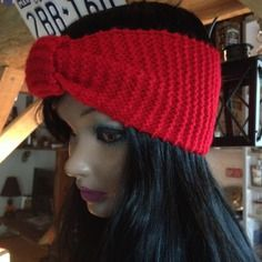 Tour de tête rouge - bandeau tricot fait main - mode . ref: 152