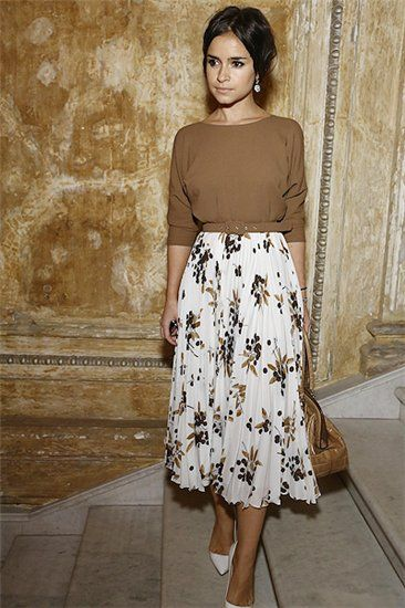 Mira Duma floral midi skirt + brown boatneck sweater + white pointed heels.