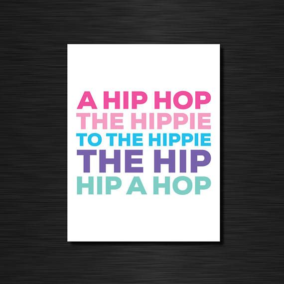 A hip hop the hippie to the hippee  Funny greeting cards /