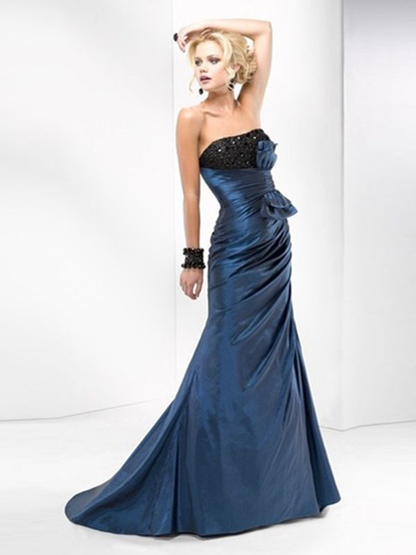 Exquisite Strapless Neckline A-line Full Length Dark Navy Taffet Evening Dresses With Beads at buytopdress.com#DesignerDress #CheapDress  #MaxiDresses  #EveningDresses #PlusSizeMaxiDresses  #Fashion  #PromDress