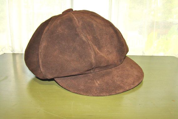 1970s Suede Cap. Hippie Hat. Brown Leather or Suede. Unisex. Fall Hipster Fashion.
