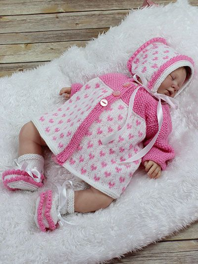 Knitting - Patterns for Children  Babies - Patterns for Outfit Sets - Heart Matinee Set
