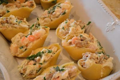 Crab and Shrimp Stuffed Shells in a Sherry Cream Sauce - Savory Experiments