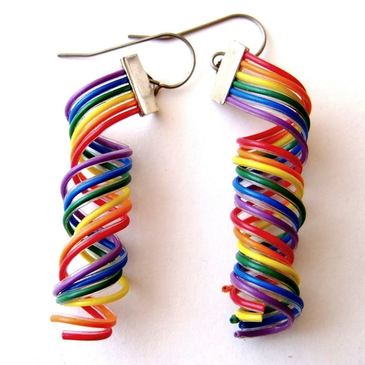 Recycling and Rainbows?  Count me in. Computer Cable Earrings -- Rainbow Wire Spirals.