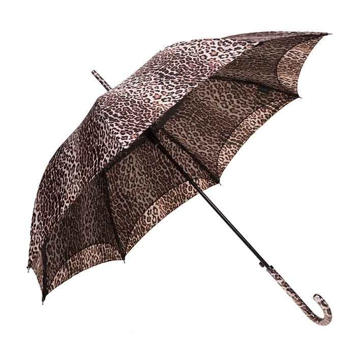 The Clifton Auto Open Parisienne Series Cheetah has a unique twist to an ordinary Rain Umbrella. Featuring a matching handle and mesh lined canopy.