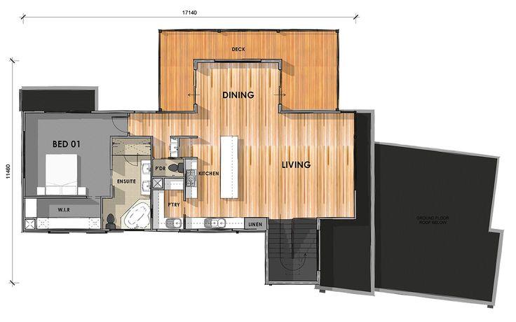 D33.6: First Floor - Custom design home on sloping block.