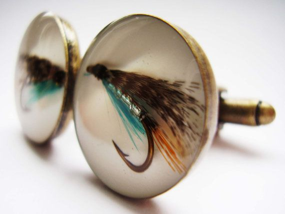 Fly Fishing Cufflinks   Antique Brass Teal Fly Fishermen