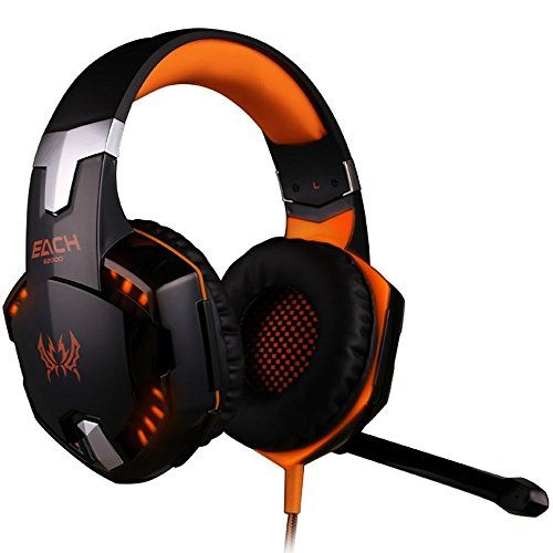 BENGOO Gaming Headset Comfortable 3.5mm Stereo Over-ear Headphone Headband with LED Lighting for PC Computer Game With Noise Isolation & Volume Control(Not Support PS4/XBox360) - Orange