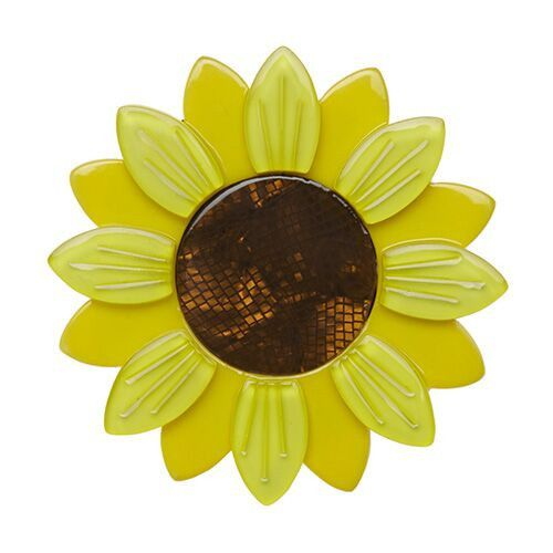 Sumptuous Sunflower (Erstwilder Yellow Resin Brooch), now available. Hand assembled and hand painted, presented in a branded box.