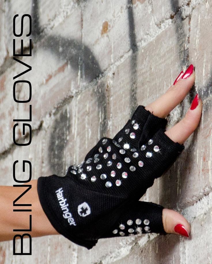 Rhinestone ladies weight training lifting gloves.