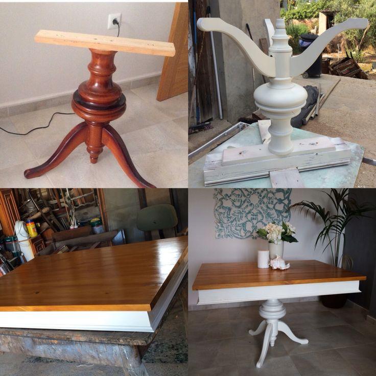 De una pata...una mesa. Mesa de madera blanca.