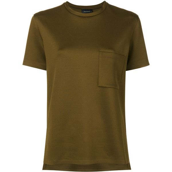 By Malene Birger classic plain T-shirt ($158) ❤ liked on Polyvore featuring tops, t-shirts, green, brown t shirt, green tee, green t shirt, by malene birger and brown tee