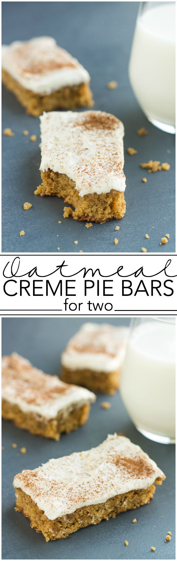 Small Batch Oatmeal Creme Pie Bars, inspired by Little Debbie Oatmeal Creme Pies (but better!). Recipe makes just 4 bars. // www.smallbatchtreats.com