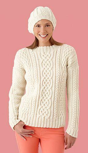Ravelry: Fisherman Sweater And Hat #L10164 (Sweater) free pattern by Lion Brand Yarn