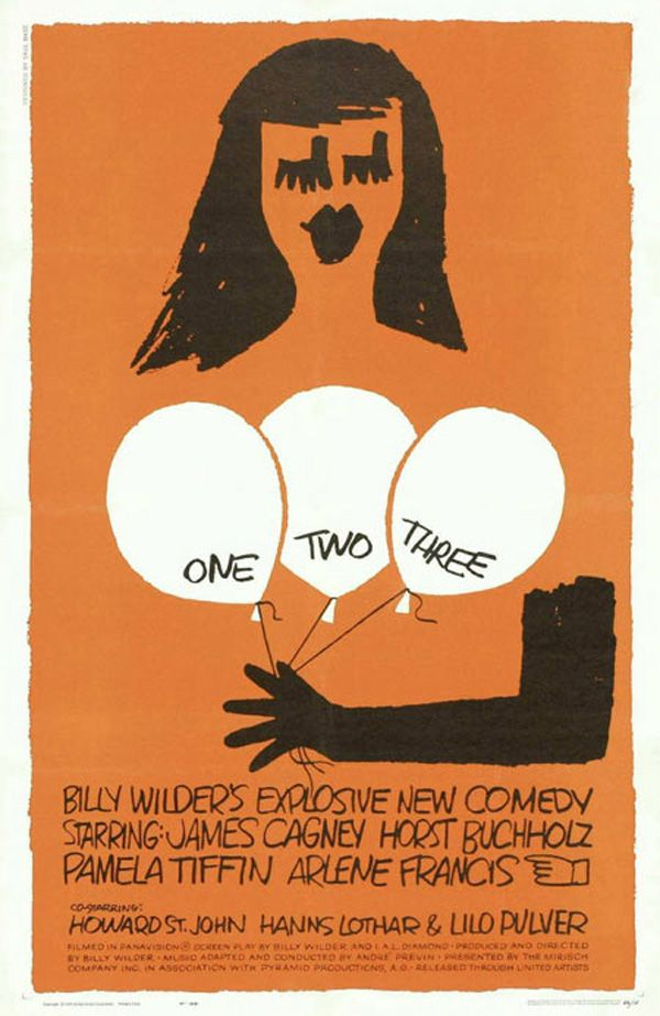 One, Two, Three movie poster, art by Saul Bass