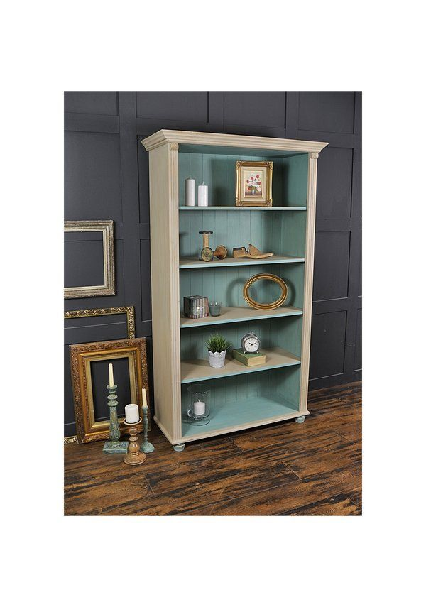 Shabby Chic Pine Bookcase With Bun Feet   Cabinets And Storage   The Treasure Trove   Shabby Chic Furniture