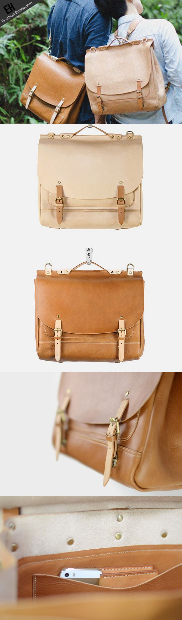 Handmade leather backpack messenger bag  for women men