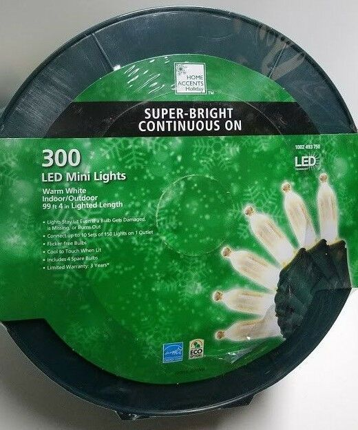300 Super Bright Led Warm White Lights Smooth Mini Spool Constanton Christmas A Homeaccentsholiday Warm White Bright Led White Light