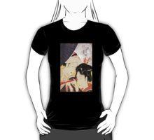 'Young Woman Looking Through a Telescope' by Katsushika Hokusai, T-Shirt. #Tshirt #Art #Painting #Japanese #woman #telescope #Hokusai #Asian #scene #travel #kanji