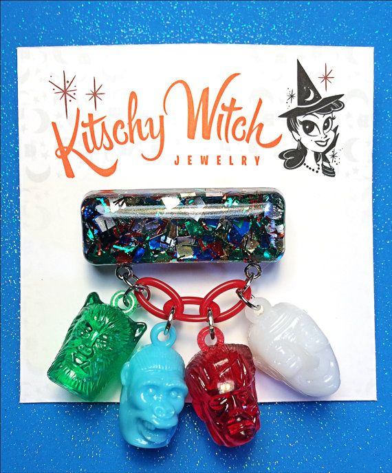 Monster Mash Novelty Brooch by KitschyWitchJewelry