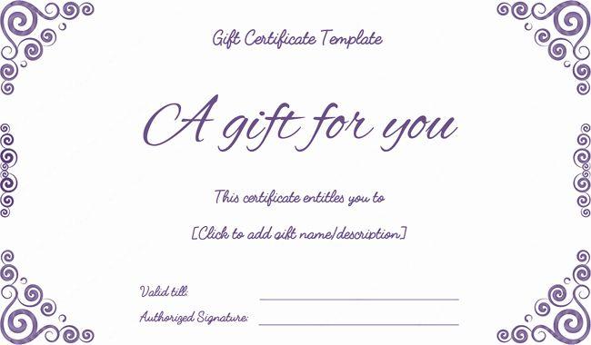 Free Gift Certificate Maker Purple Free Printable Gift